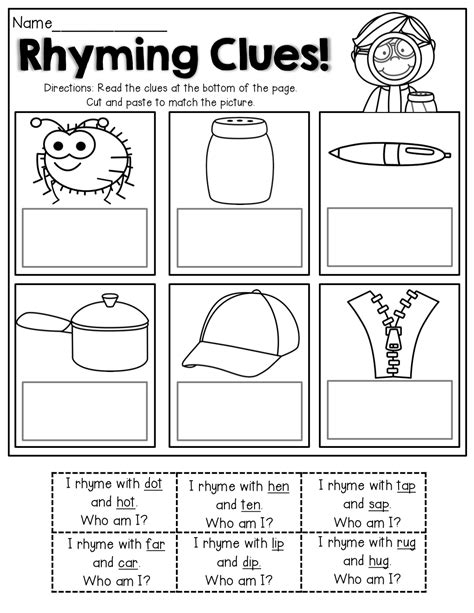 read the simple clues that rhyming words match the