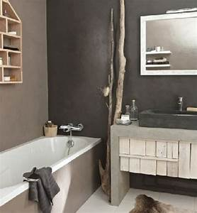 Peinture Salle De Bain Carrelage : salle de bain beige et gris ~ Dailycaller-alerts.com Idées de Décoration