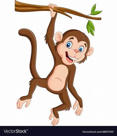 Monkey Hanging Cartoon Tree Branch Printable Vectorstock
