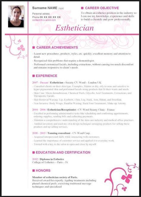 esthetician resume   experience esthetics