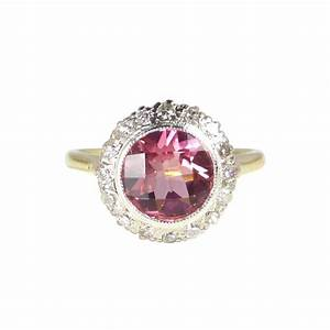 art deco engagement ring antique diamond pink tourmaline With pink tourmaline wedding engagement ring