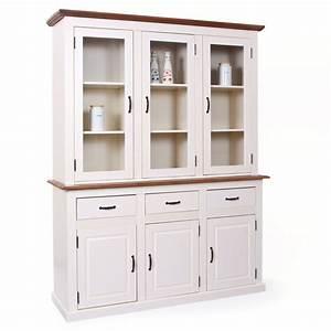 Vaisselier Blanc Et Bois : vaisselier bois blanc mikea galerie ~ Nature-et-papiers.com Idées de Décoration