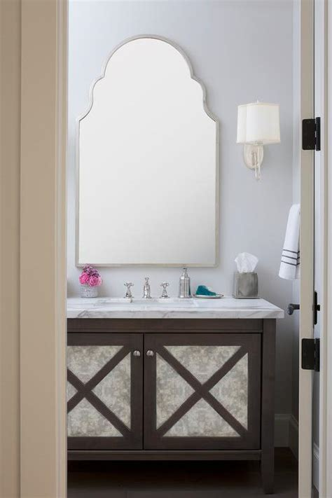 powder room  brown ceiling  silver metallic