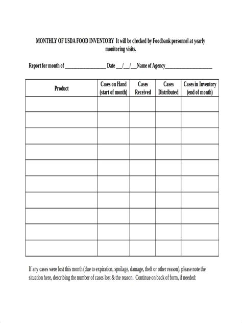 food inventory examples  google docs ms word