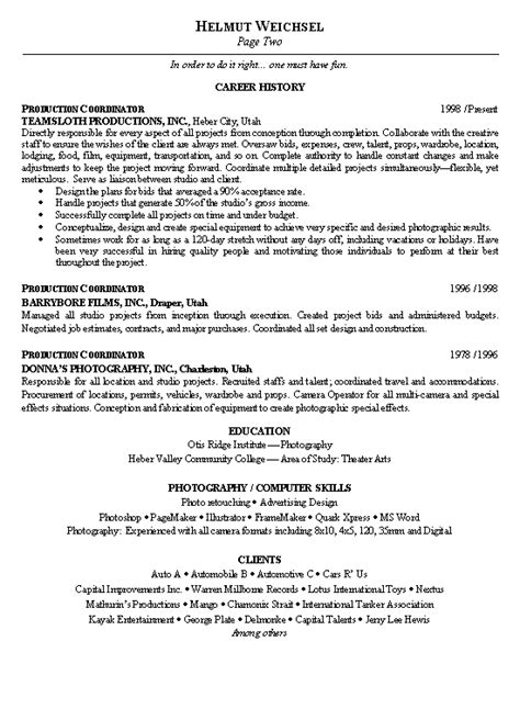 Vfx Production Coordinator Resume by Production Coordinator Resume Exle