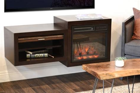 wall mount floating tv media stand  fireplace small