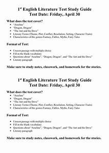 1st English Literature Test Study Guide 3rd Term