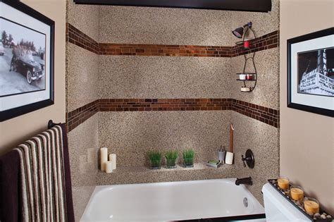 recycled glass shower surround with tile inlay