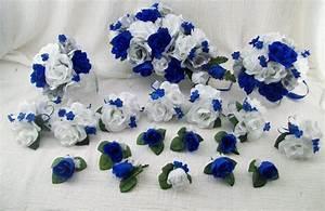 Silk Wedding Flowers Cascade Bridal Bouquets Royal Blue ...