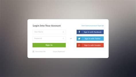 Facebook, Twitter, Google+ Login Page
