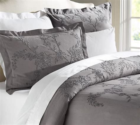 Chenille Duvet Cover by Chenille Floral Embroidered Duvet Cover Sham Pottery Barn