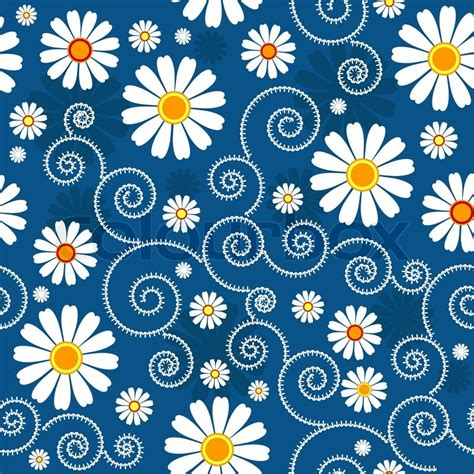 blue and white floor l dark blue floral pattern with white flowers vector