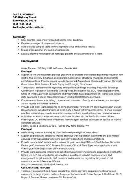 corporate paralegal resume  format  databaseorg