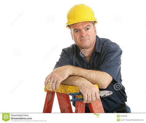 construction worker disgruntled royalty free stock image