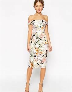 lyst asos wedding bardot floral off shoulder pencil dress With pencil wedding dress