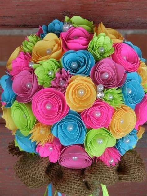 coral colored wedding centerpieces handmade paper flower wedding bouquet bright colors pink