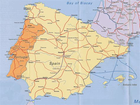 map  spain  portugal france road cities tourist
