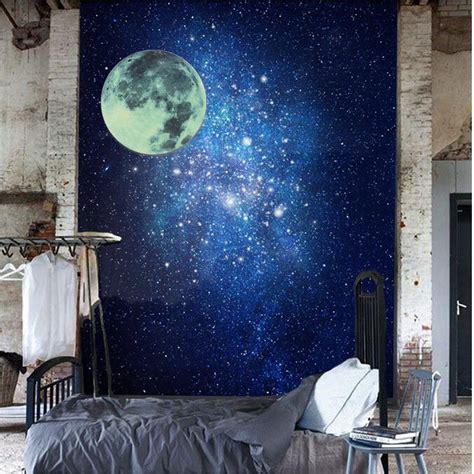 bureau mural romantique lumineux fluorescent lune terre autocollant