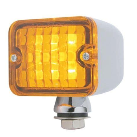 led amber light 6 led medium rectangular chrome rod light w lens 12v rat rod pirate mfg