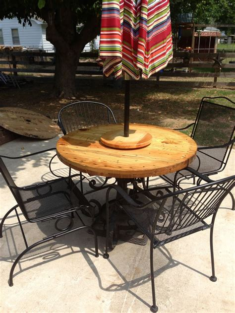 wrought iron table base end of wire spool another