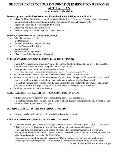 tornado emergency plan template tornado shelter in place school safe house