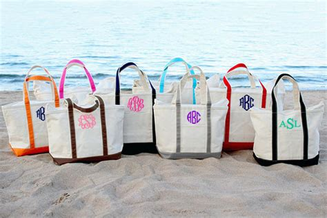 monogram tote bag personalized large canvas monogrammed