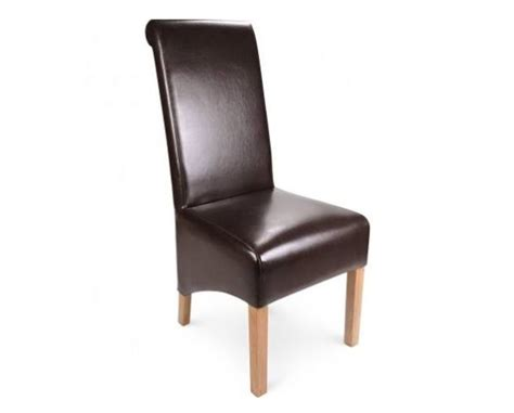brown leather high scroll back dining chair