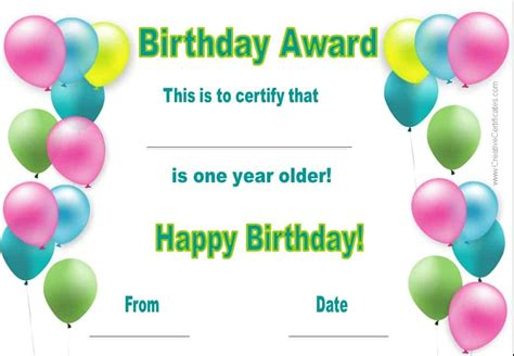 birthday certificate template free happy birthday certificate template customize