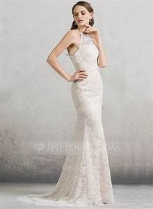 Sheath column scoop neck sweep train lace wedding dress for Scoop neck sheath wedding dress