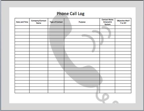 phone call log template templates printable  phone