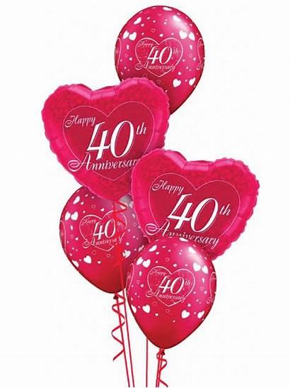 Anniversary 40th Happy Ruby Balloon Transparent Display