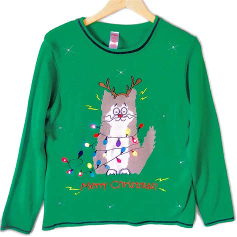 ugly light up christmas sweaters electrocuted kitty led light up cat lady ugly christmas