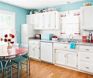 quotwhite retro kitchen laundry idea with red accents here With kitchen colors with white cabinets with happy birthday wall art