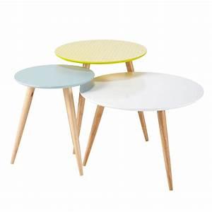 3 Tables Basses Gigognes Vintage Multicolores L 40 Cm L