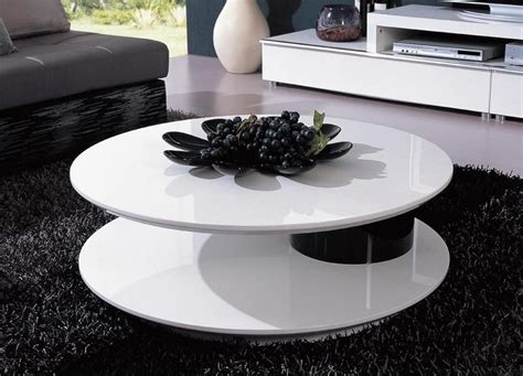 modern white round coffee table round shaped contemporary white and black coffee table