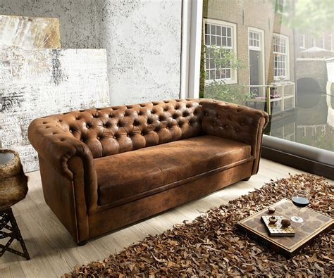 Couch Chesterfield Braun 200x90 Cm Antik Optik Abgesteppt