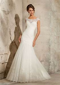 Lace on net wedding dress style 5305 morilee for No lace wedding dress