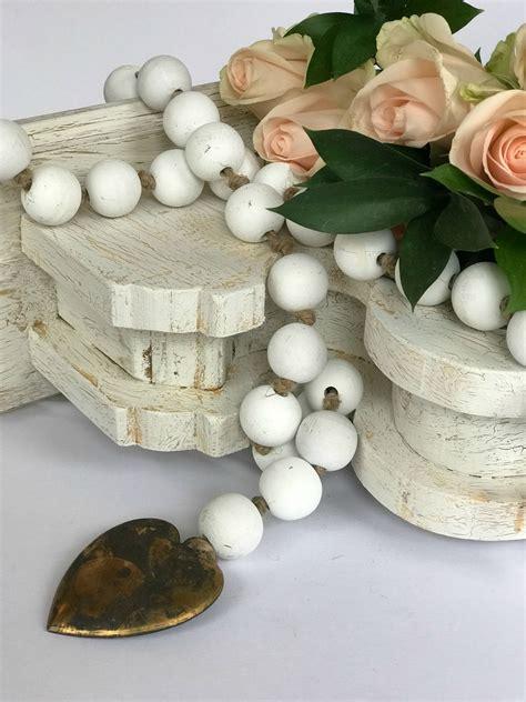 white wood bead garland hallstrom home