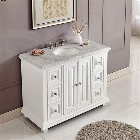 Small White Vanity by 48 Quot Transitional Single Bathroom Vanity White