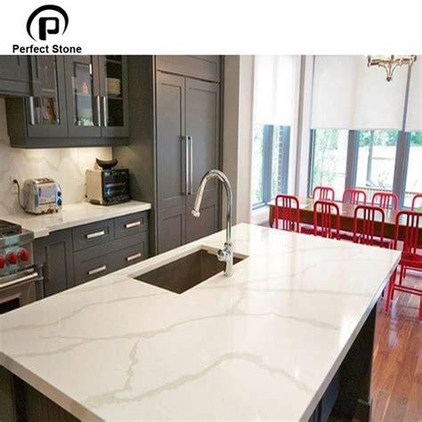 calacatta white quartz island top countertop  kitchen