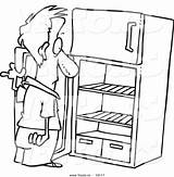 Fridge Empty Cartoon Drawing Coloring Refrigerator Open Vector Outlined Staring Clipart Clip Outline Graphic Toonaday Imgkid Kid 출처 sketch template