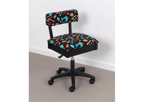 horn limited edition gaslift sewing chair black colourful