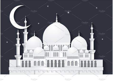 raya mosque vector illustrations creative market