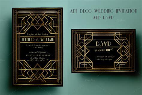 art deco wedding invitation  rsvp invitation