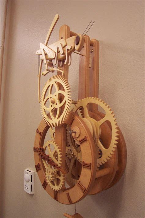 grasshopper clock side view wooden gear clock wooden