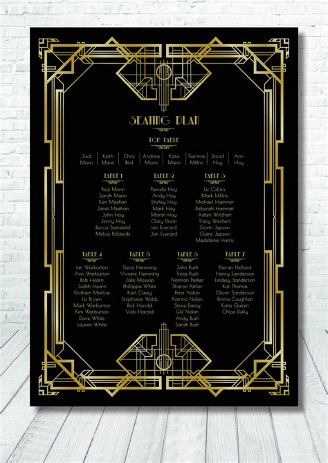1930's Great Gatsby Style Table Plan / Art Deco Table Plan