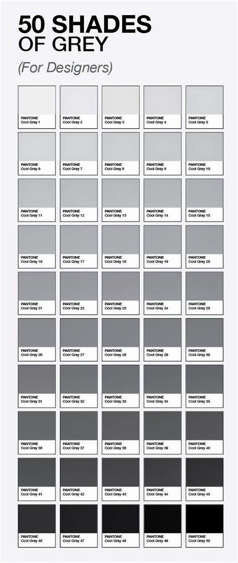 50 shades of grey for designers by pantone grey colour chart grey paint pantone