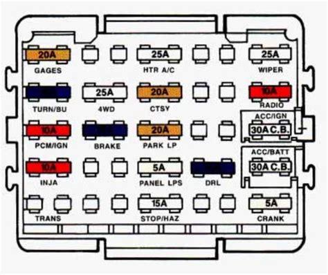 94 S10 Fuse Box For by Chevrolet Suburban 1993 1994 Fuse Box Diagram Auto