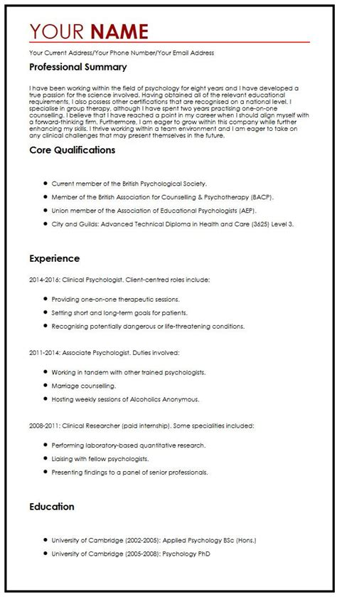 Typical Cv Template by Common Cv Sle Myperfectcv