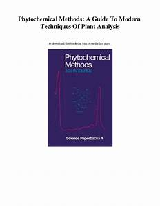 New  Phytochemical Methods  A Guide To Modern Techniques